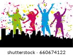 dancing people silhouettes.... | Shutterstock .eps vector #660674122