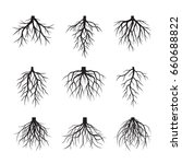 set of black roots. vector... | Shutterstock .eps vector #660688822