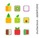 set of flat  fruits. isolated... | Shutterstock .eps vector #660691042