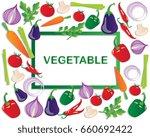 fresh vegetable frame | Shutterstock .eps vector #660692422
