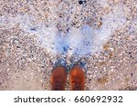 sea pebbles and water. hipster... | Shutterstock . vector #660692932