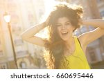 happy young woman screaming... | Shutterstock . vector #660695446
