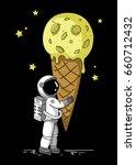 Little Cute Astronaut Holds A...