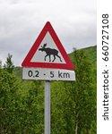 Moose Crossing Road Sign In...