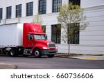 red semi truck with short day... | Shutterstock . vector #660736606
