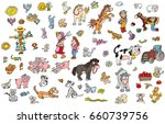 farm animals with peasants and... | Shutterstock . vector #660739756