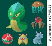 funny cartoon monster cute... | Shutterstock .eps vector #660745138