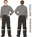 the man in trousers with a belt ... | Shutterstock .eps vector #66074554