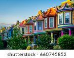 colorful row houses on guilford ... | Shutterstock . vector #660745852