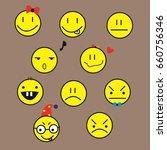set of yellow emotions   emoji... | Shutterstock . vector #660756346