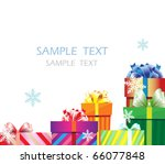 a pile of striped gift boxes on ...   Shutterstock .eps vector #66077848