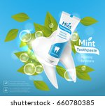 tube of toothpaste with mint... | Shutterstock .eps vector #660780385