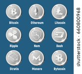 cripto currency logo silver... | Shutterstock .eps vector #660800968