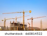 lots of tower construction site ... | Shutterstock . vector #660814522