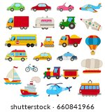 set of cartoon cars  vehicles ... | Shutterstock . vector #660841966