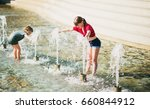 two happy kids playing in... | Shutterstock . vector #660844912