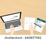 laptop find job top view hand... | Shutterstock .eps vector #660857482