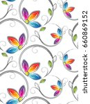 Stock vector seamless wallpaper of artistic flowers 660869152