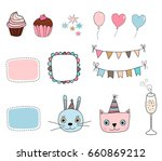 cute set with kitty  bunny ... | Shutterstock .eps vector #660869212