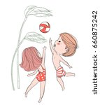 girl and boy playing volleyball.... | Shutterstock .eps vector #660875242