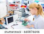 female laboratory assistant... | Shutterstock . vector #660876646