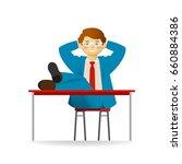 cheeky caucasian man in suit... | Shutterstock .eps vector #660884386