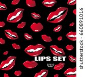 set of sensual lips on the...   Shutterstock .eps vector #660891016