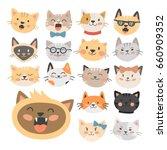 cats heads vector illustration... | Shutterstock .eps vector #660909352