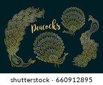golden peacocks set on the dark ... | Shutterstock . vector #660912895