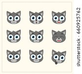 set funny face wolf different... | Shutterstock .eps vector #660925762
