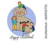 happy childhood. colorful... | Shutterstock .eps vector #660926752