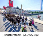 BAD TOELZ, GERMANY - JUNE 15 - People in traditional clothes at the Corpus Christi procession at June 15, 2017 in Bad Toelz - Germany. - stock photo