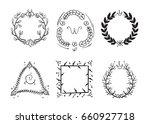 doodle rustic branch frames ... | Shutterstock . vector #660927718