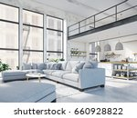 3d rendering. loft apartment... | Shutterstock . vector #660928822
