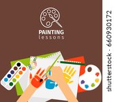 kids painting lessons painting... | Shutterstock . vector #660930172