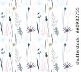 vector floral seamless pattern... | Shutterstock .eps vector #660932755