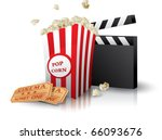 Постер, плакат: Popcorn and movie tickets