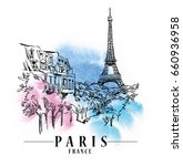 paris illustration. vector... | Shutterstock .eps vector #660936958