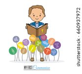 my first communion card. boy... | Shutterstock .eps vector #660937972