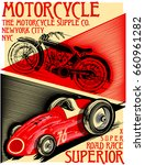 motorcycle and car race poster... | Shutterstock .eps vector #660961282