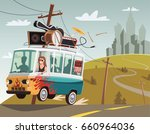 rock 'n' roll band on tour in... | Shutterstock .eps vector #660964036