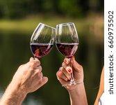 Lovers Clinking Wine Glasses I...