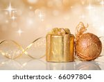 gold christmas ribbon ornament... | Shutterstock . vector #66097804