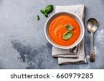 gazpacho soup with green basil... | Shutterstock . vector #660979285