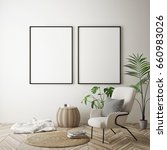 mock up poster frame in hipster ... | Shutterstock . vector #660983026