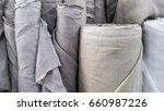 natural linen fabric in roll | Shutterstock . vector #660987226