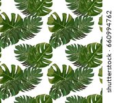 seamless exotic leaves pattern | Shutterstock .eps vector #660994762