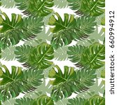 seamless vector exotic leaves... | Shutterstock .eps vector #660994912