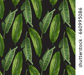 seamless vector exotic leaves... | Shutterstock .eps vector #660995086