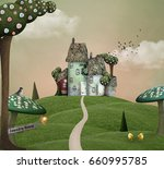 fantasy country house over an... | Shutterstock . vector #660995785